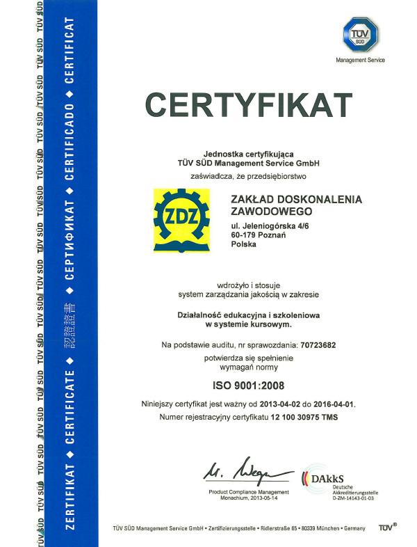 Certyfikat Jakości ISO 9001 (Certyfikat TÜV SÜD wdrożenia Systemu Zarządzania Jakością ISO 9001:2008)