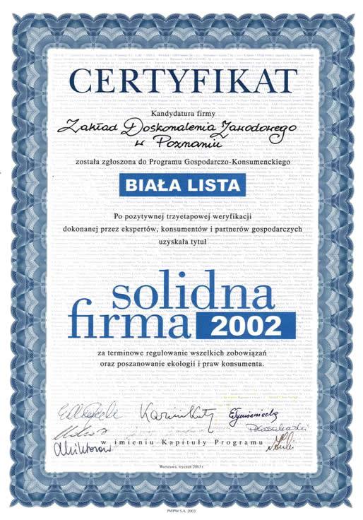 "Certyfikat ""Solidna Firma"""