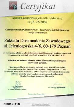 Certyfikat uznania kompetencji jednostki edukacyjnej CIOP PIB (Centralny Instytut Ochrony Pracy – Państwowy Instytut Badawczy)