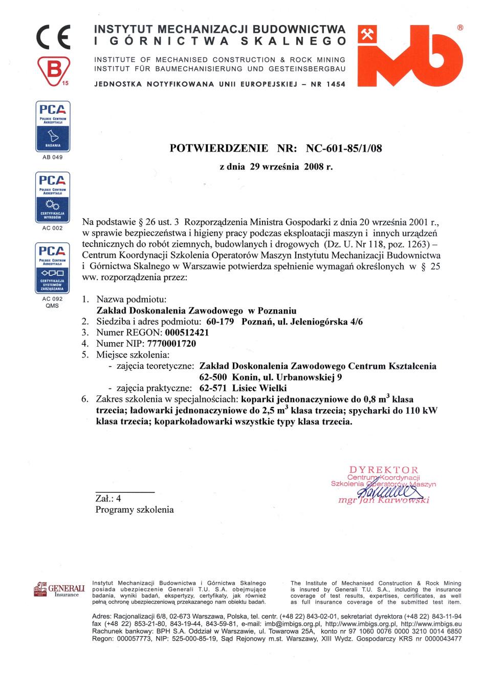 Potwierdzenie Instytutu Mechanizacji Budownictwa i Górnictwa Skalnego