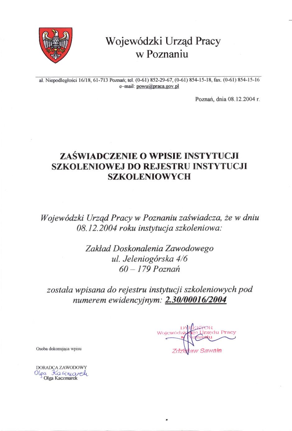 Wpis do rejestru instytucji szkoleniowych
