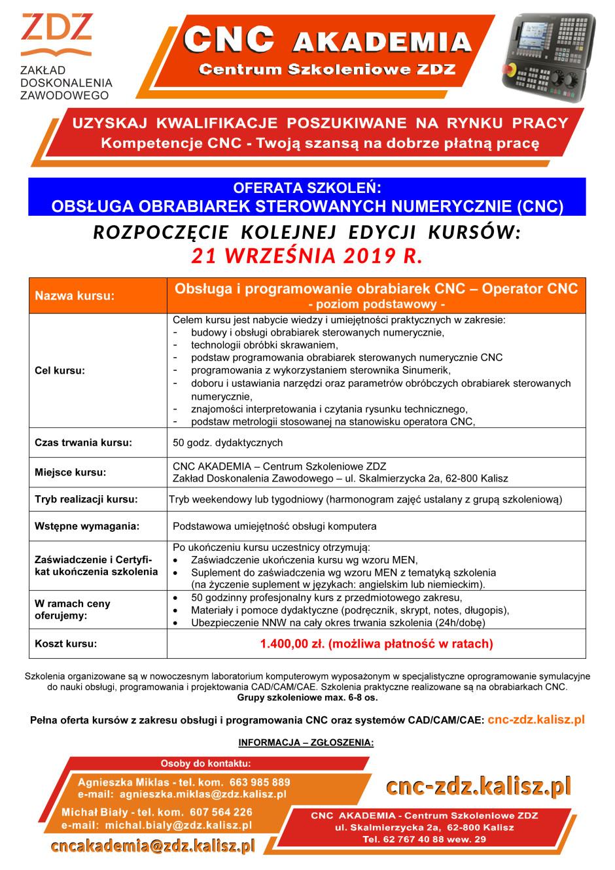 CNC Akademia - kurs obs³ugi i programowania obrabiarek CNC