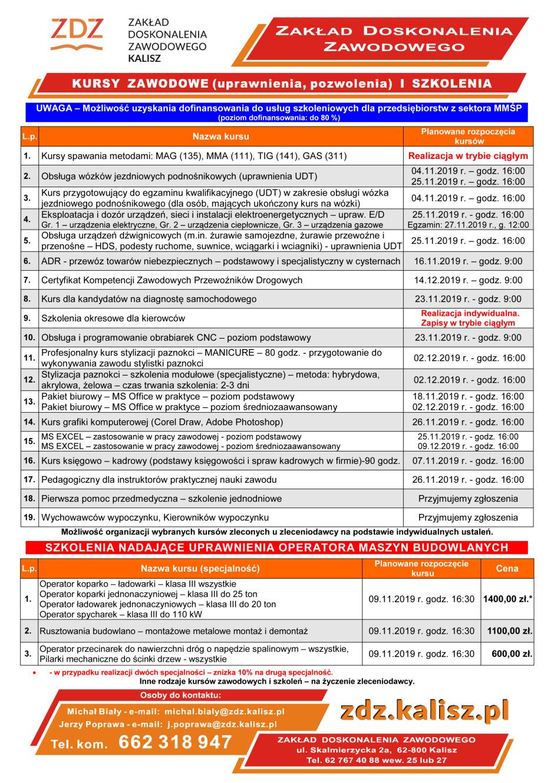 kursy zawodowe-oferta 2019-listopad